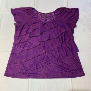 Denver Hayes Purple Ruffle Shirt - Size 2x